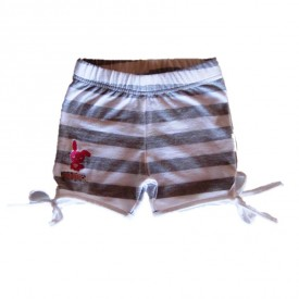 Girls shorts lycra stripe grey and white