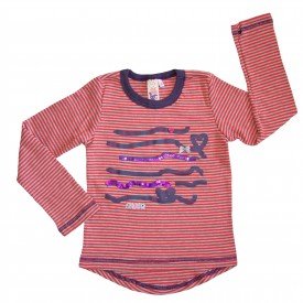 Quirky stripe top - coral