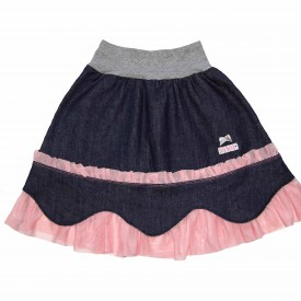 Girls denim skirt with pink trim low res