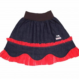 Girls denim skirt with red trim low res