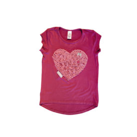 Girls T Heart Cerise