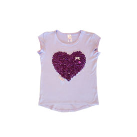 Girls T Heart Lilac